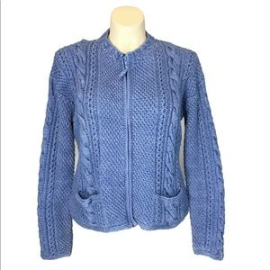 Sweater Venture XL Cardigan Sweater Blue Chunky